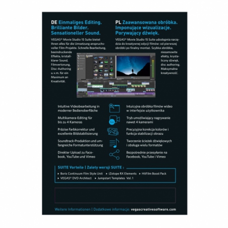 Vegas Movie Studio 15 Suite PL (licencja pudełkowa, komercyjna)